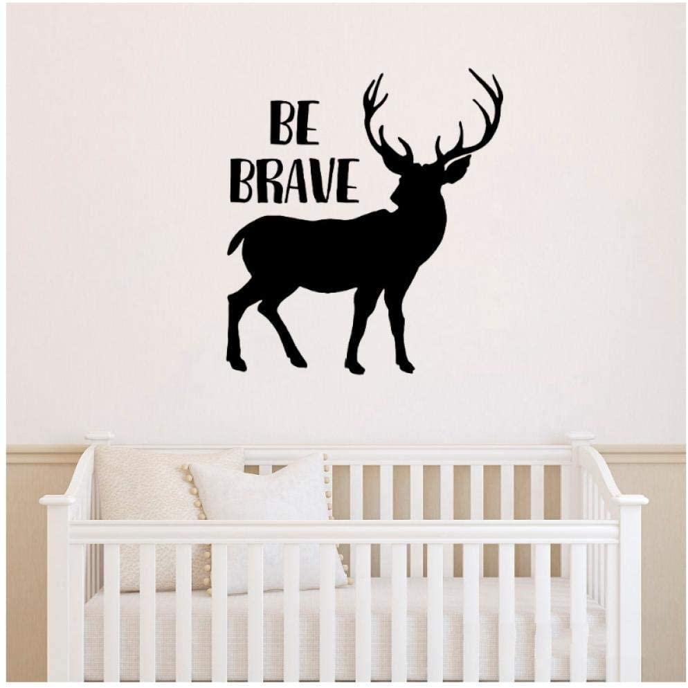 hgkjddj Elk Vinyl Wall Decals for Girls Boys Inspirational Quote Be Brave Wall Stickers Bedroom Kids Decals Deer Sticker Mural56X62Cm