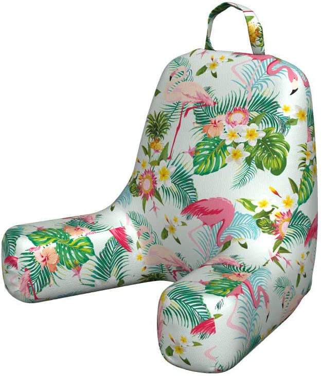 Ambesonne Flamingo Reading Cushion with Back Pocket, Fresh Exotic Jungle Rainforest Island Climate Wildlife Fauna Leaves and Blossoms, Pillow for Bed Rest Gaming, Small, Pink Green