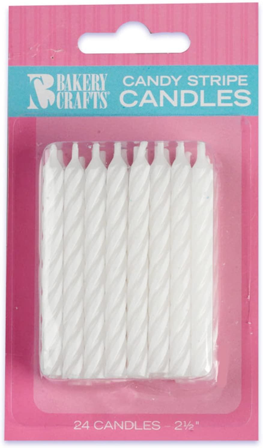 DecoPac White Stripe Birthday Candles (24)