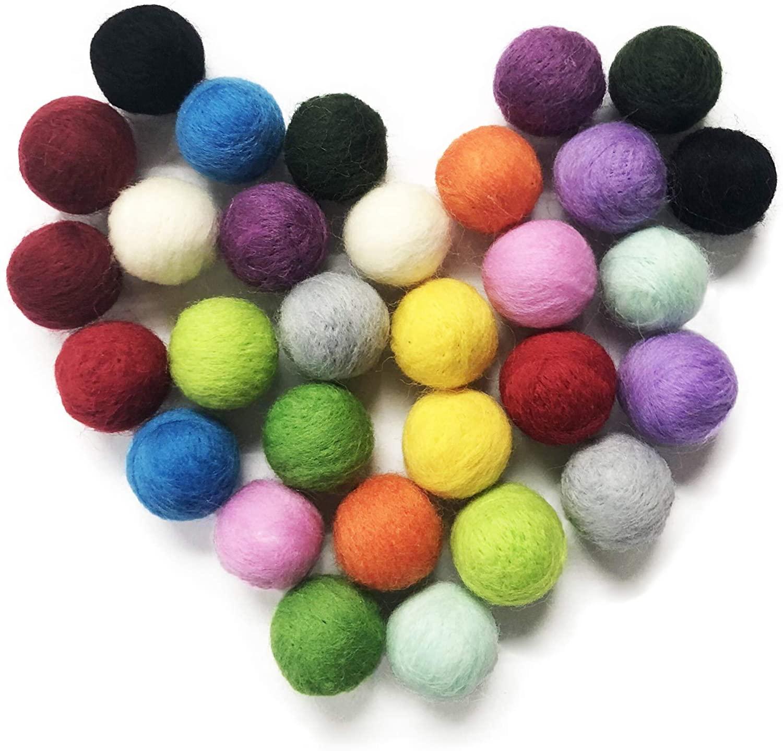 Prudance 30 PCS Wool Felt Balls, 1 Inch Felt Pom Poms for Decoration, DIY Crafts, 15 Colors Hand-Felted Pure Wool Beads