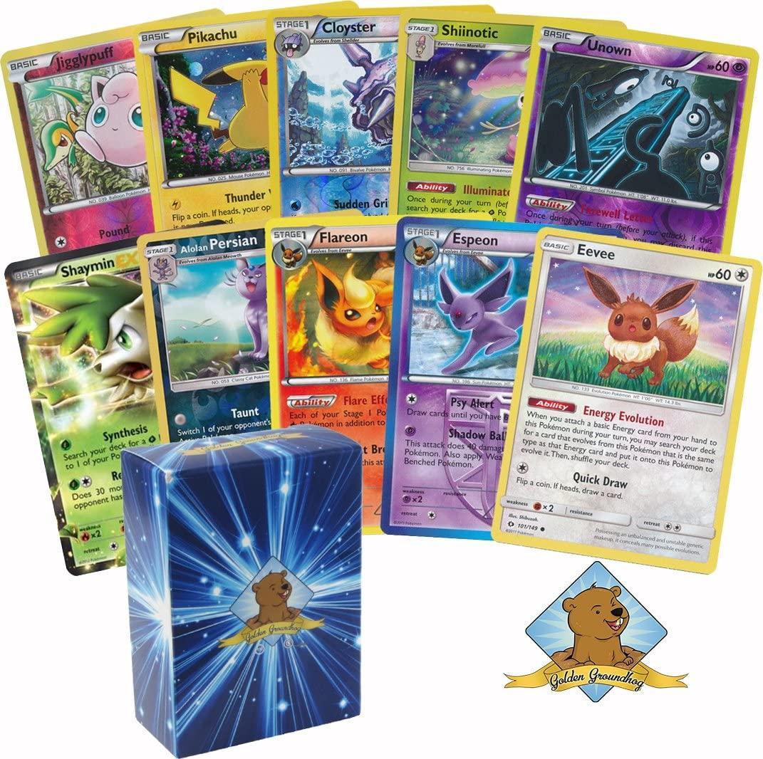 30 Assorted Pokemon Cards - 1 Eevee Card, 3 Eeveelution Cards, 1 EX or Full-Art Ultra Rare, 7 Reverse Holographics, 3 Rare Holographics, and 15 Commons/Uncommons - Golden Groundhog Deck Storage Box