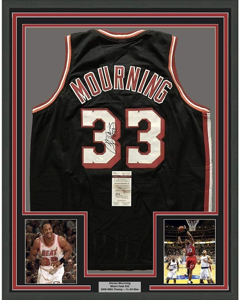 Framed Autographed/Signed Alonzo Mourning 33x42 Miami Black Basketball Jersey JSA COA
