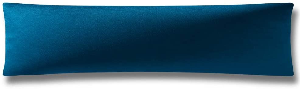 DEZENE Body Pillow Cover, Super Soft Velvet Body Pillowcase with Hidden Zipper Closure for Adultes 21 x 54 Inch, Dark Blue