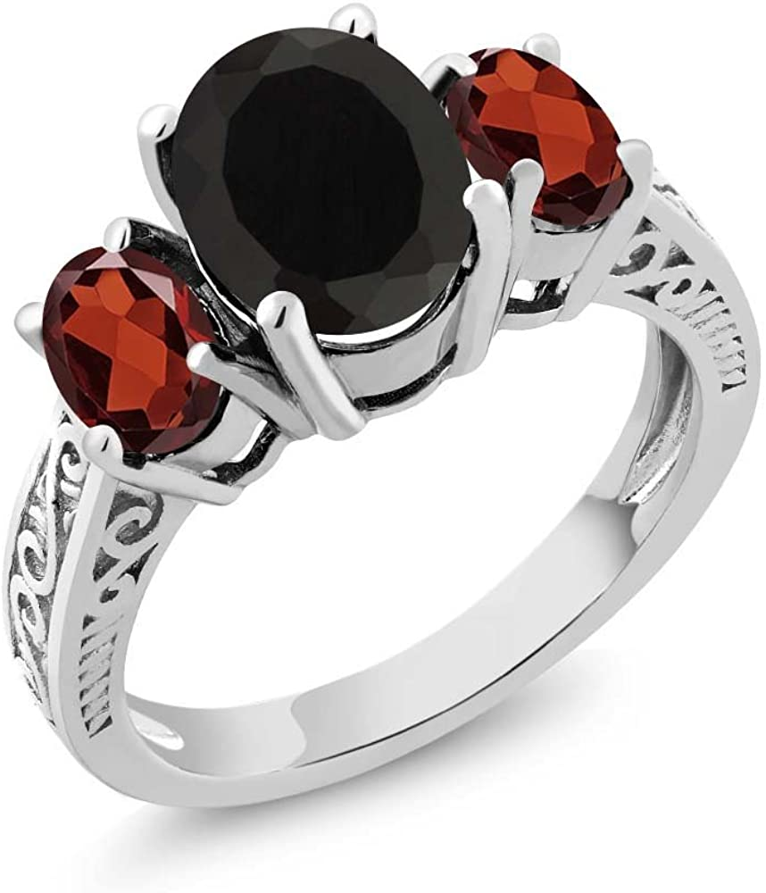 Gem Stone King 925 Sterling Silver Black Onyx & Red Garnet 3-Stone Women's Ring 2.73 Cttw (Available 5,6,7,8,9)
