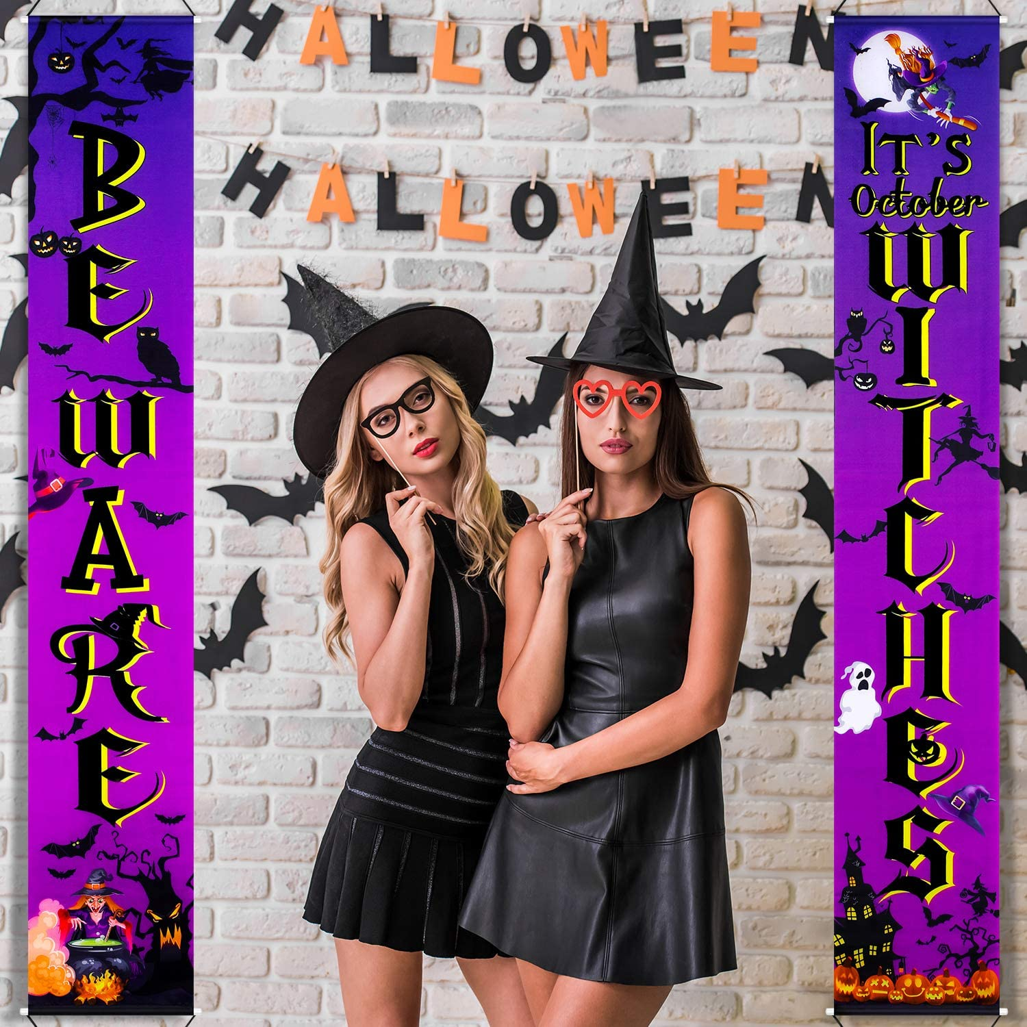 Halloween Party Decorations Witches Banner It's October Witches Wizard Party Favor, Halloween Backdrop Witches Door Sign Decor Banner for Halloween Decorations Background Photo Props