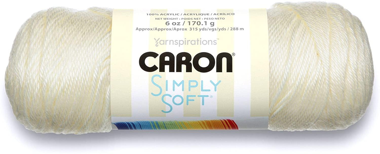Caron Simply Soft Solids Yarn (4) Medium Gauge 100% Acrylic - 6 oz - Off White - Machine Wash & Dry