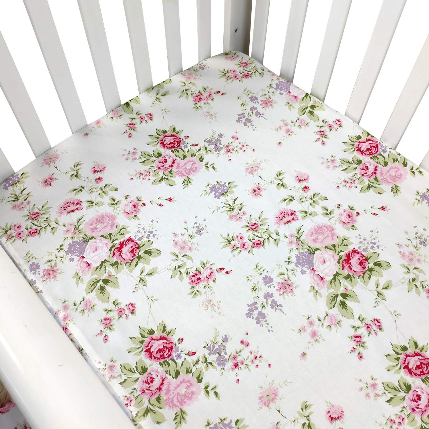 Brandream Crib Sheets Girl Fitted Crib Sheets Floral Portable Crib Mattress Topper for Baby Girls 100% Soft Breathable Cotton, Pink