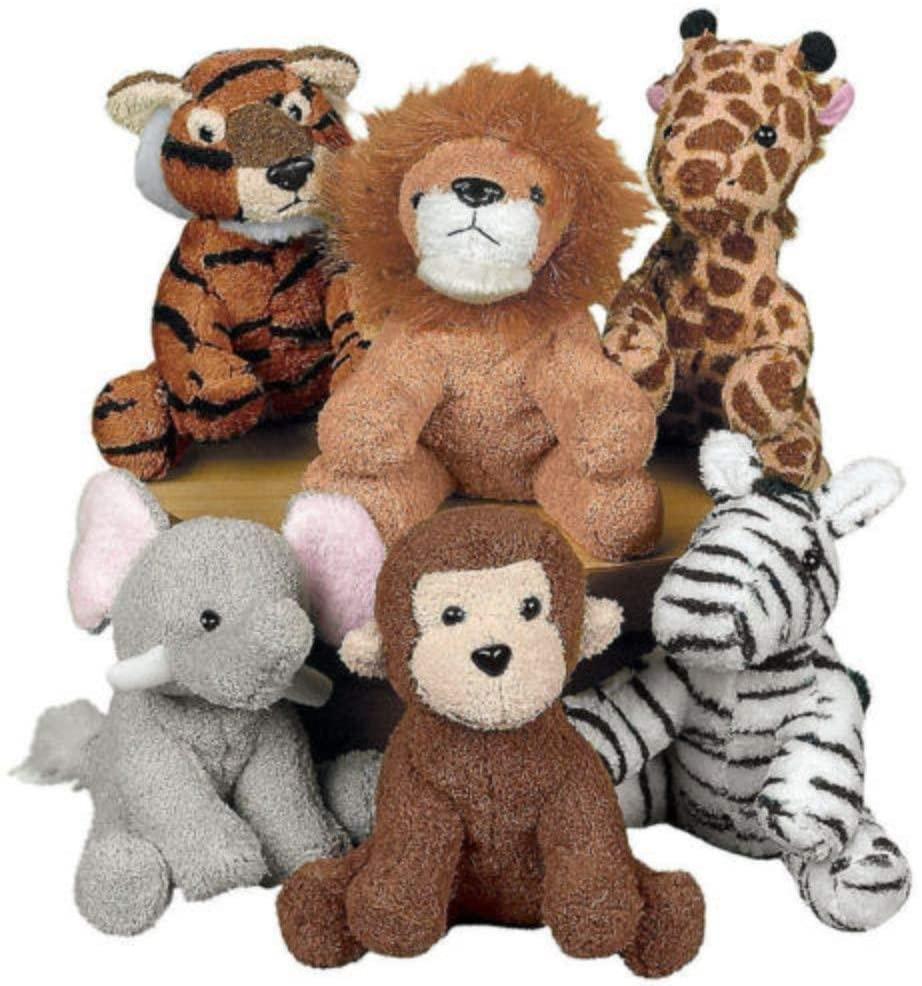 6 Stuffed Animals BABY SHOWER Diaper Cake Party Favors ZOO Safari Jungle