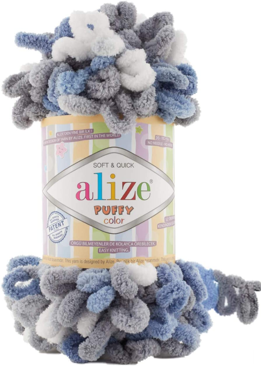 Alize Puffy Color Baby Blanket Yarn Lot of 4skn 400gr 39.3 yds 100% Micropolyester Soft Yarn Hand Knitting Yarn (6075)