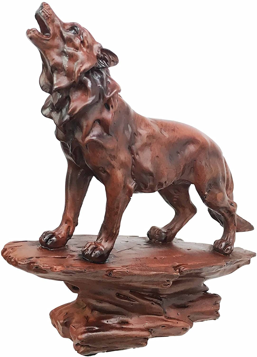 Ebros Gift Faux Wood Wildlife Nature Night Moon Howling Wolf Figurine Timberwolves Collectible Statue Mystic Animal Totem Spirit Dancing With Wolves Sculpture Home Decor