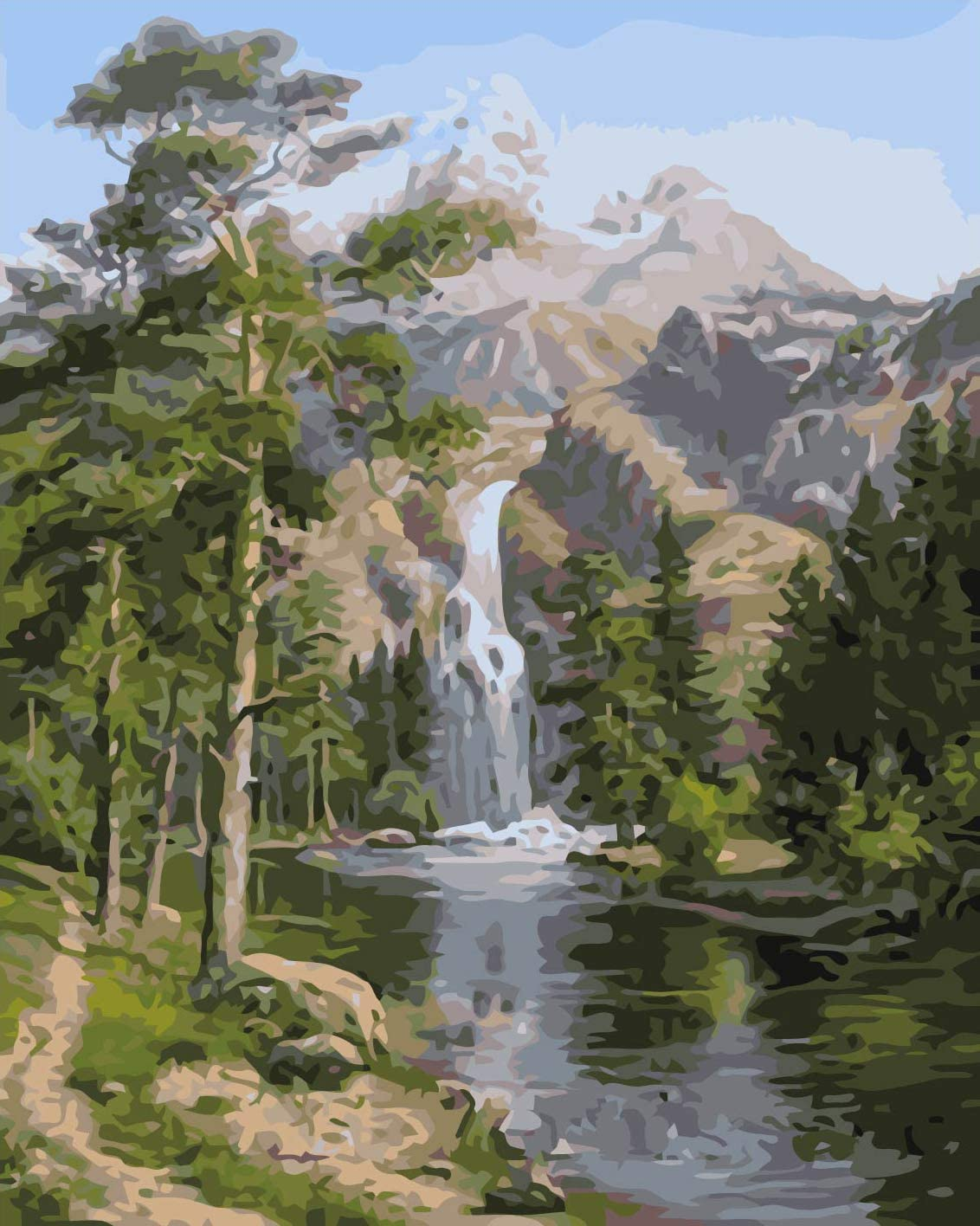 WISKALON Frameless Paint by Numbers for Adults Children - Waterfall 1620 inches Linen Canvas - DIY Painting by Numbers Kits on Canvas