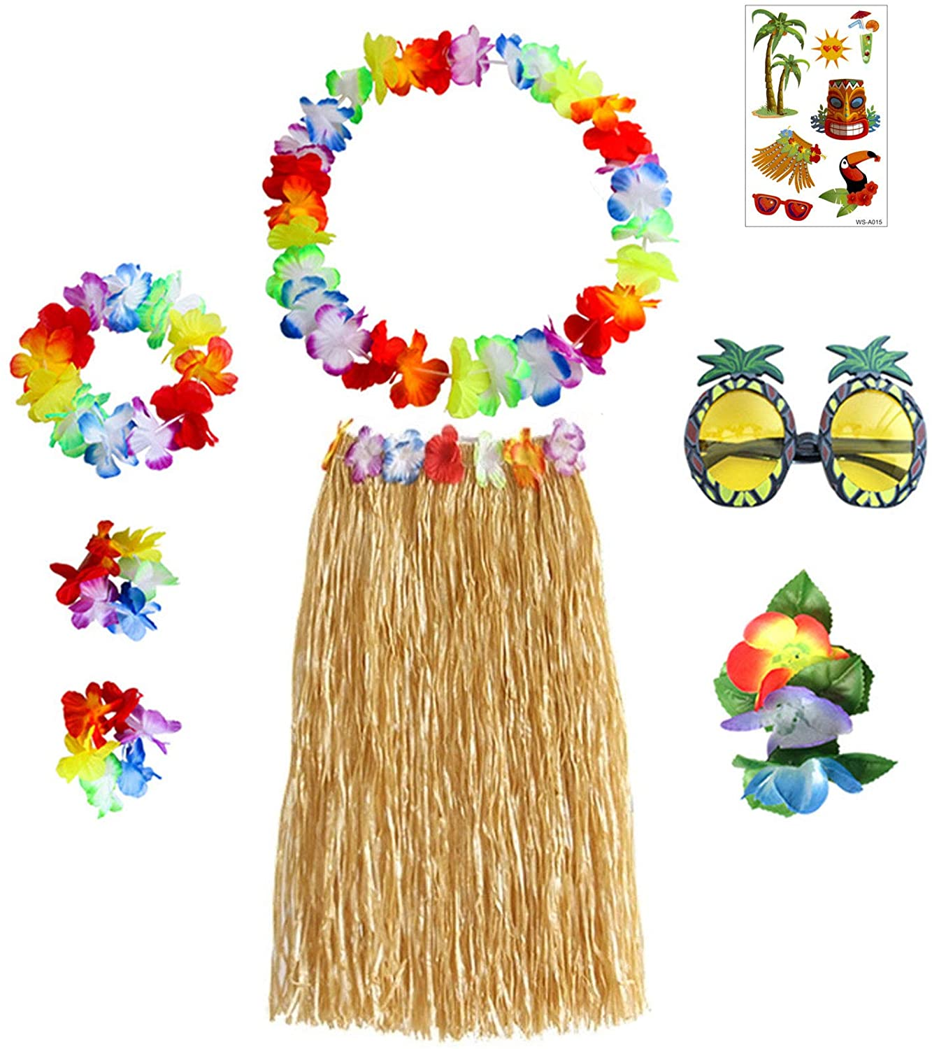 Gywantt Grass Skirts for Adults 8 Pcs Luau Party Decorations for Adults - 32inch Hawaiian Grass Skirts, Hawaiian Lei, Hibiscus Hair Clip, Pineapple Sunglasses, Luau Tattoos for Hawaii Luau Party