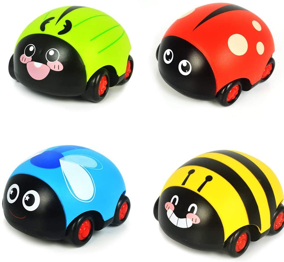 heaven2017 4 Pieces Animals Ladybug Pull Back Car Model Vehicle Toys Set for Kids Toddler Insect