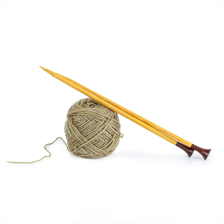 Nagina International 12 Rosewood & Maple Crafted Premium Yarn Knitting Needles | Stitching Accessories & Supplies (4mm, Rosewood Head)