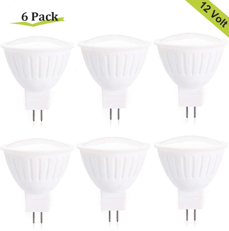 LED MR16 GU5.3 Flood Lights Non-Dimmable,3W (25W Halogen Equivalent) Light Bulbs,2700K Warm White,GU5.3 Bi-Pin Base,120° Flood Angle 300LM,12V MR16 LED Bulb for Track Lighting,Spotlight Lamp - 6 Pack