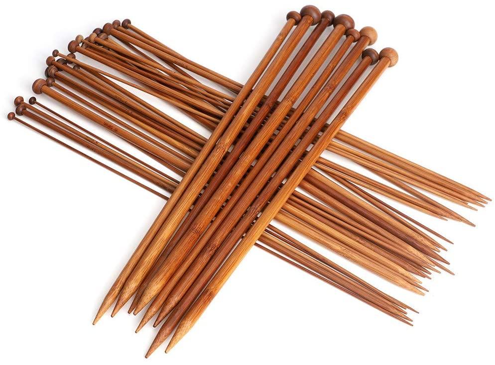 SANON Wool Knitting Needles, 36 Pieces 18 Sizes Carbonized Bamboo Crochet Knitting Needles Single Tip Needles