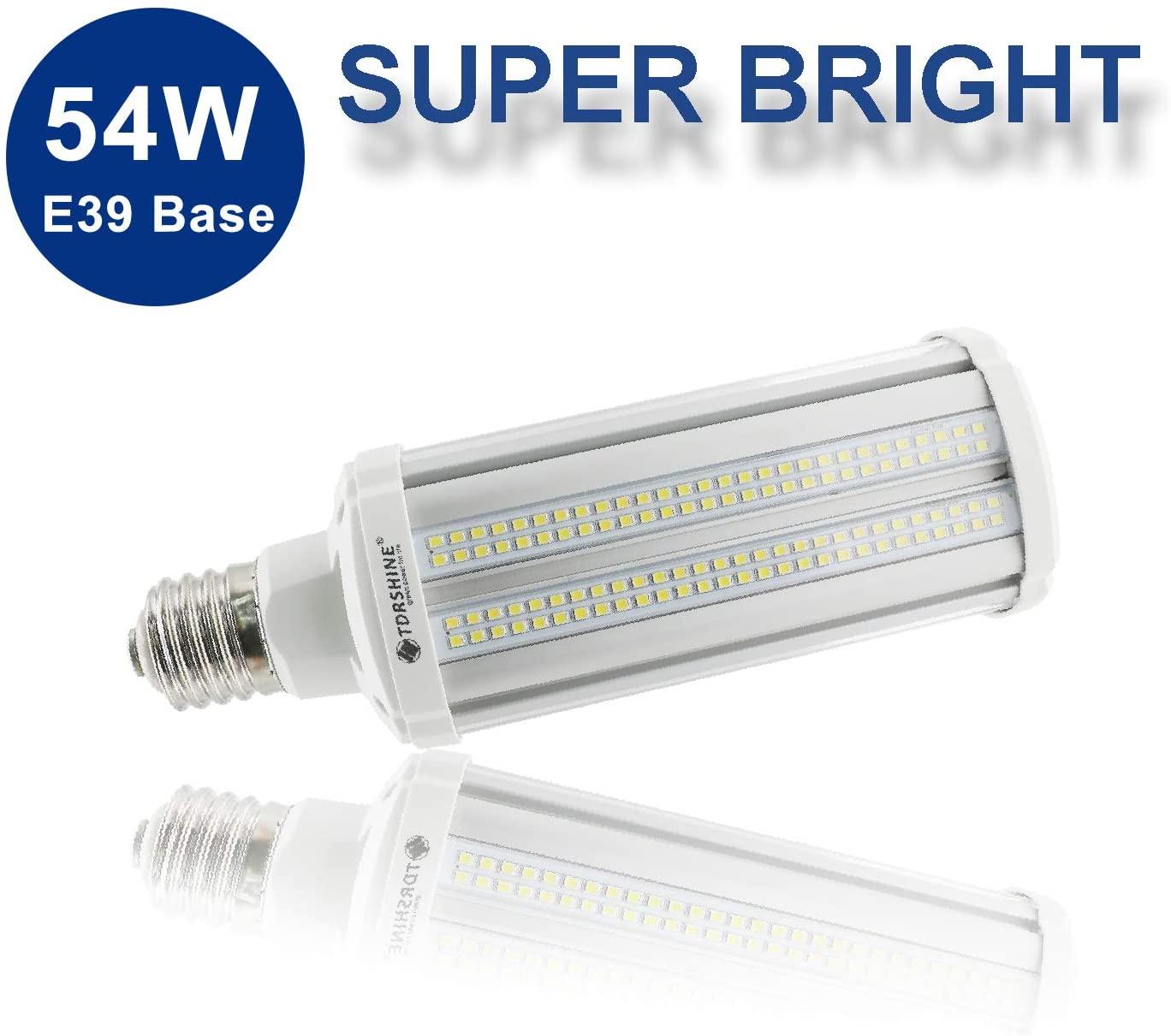 54W LED Corn Light Bulb Super Bright(400 Watt Equivalent)7020 Lumens 5000K E39 Large Mogul Base Large Area Cool Daylight White for Outdoor Indoor Garage Warehouse High Bay Barn Parking Lot Patio