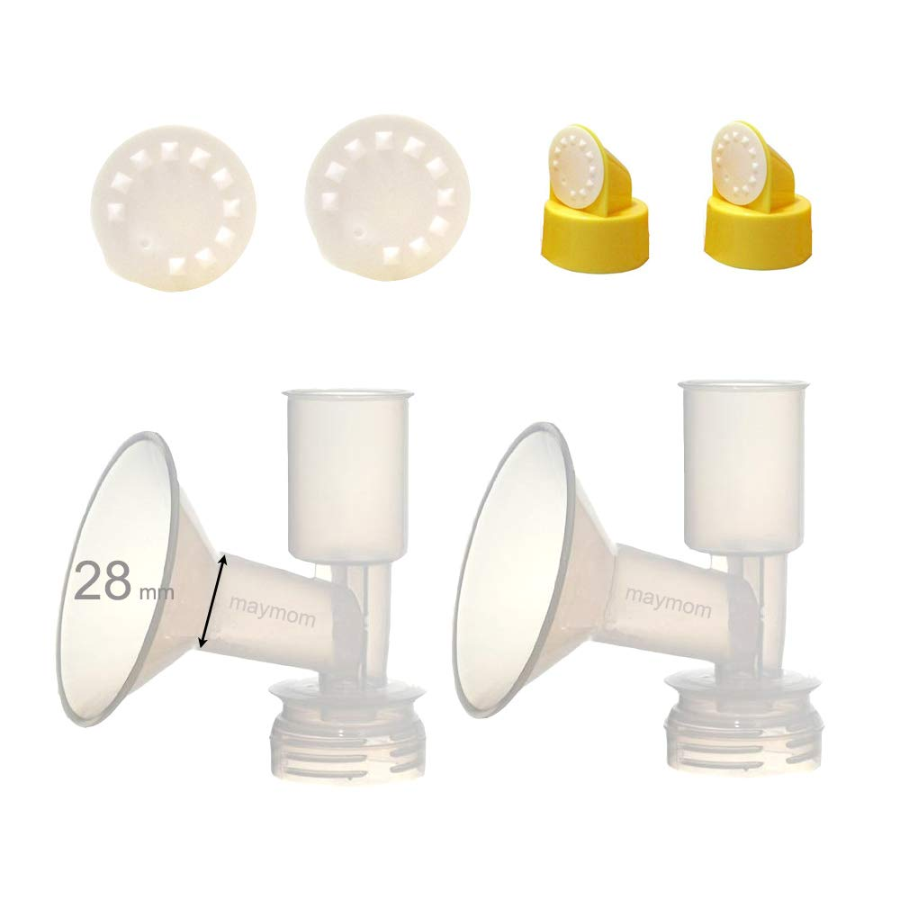Maymom Non-Duckbill, Replacement Flange Kit for Ameda Purely Yours, Ultra Breastpump, Flange 28 mm, with Vave/Membrane; Made by Maymom