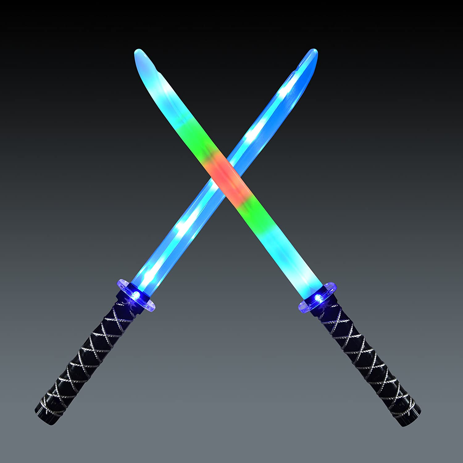 JOYIN 2 Deluxe Ninja LED Light Up Swords with Motion Activated Clanging Sounds ñ Bright Blue and Multi Color Sword for Halloween Party, Costume Accessories