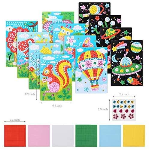 LEMESO 12 Pcs Mosaic Sticker Art Kits for Kids, Mosaic EVA Stickers Art Kit for Kids, DIY Color Filling Stickers Game Set Crafts, Art Puzzle Sticky DIY Handmade Painting, Joyful Funny Craft Games Set