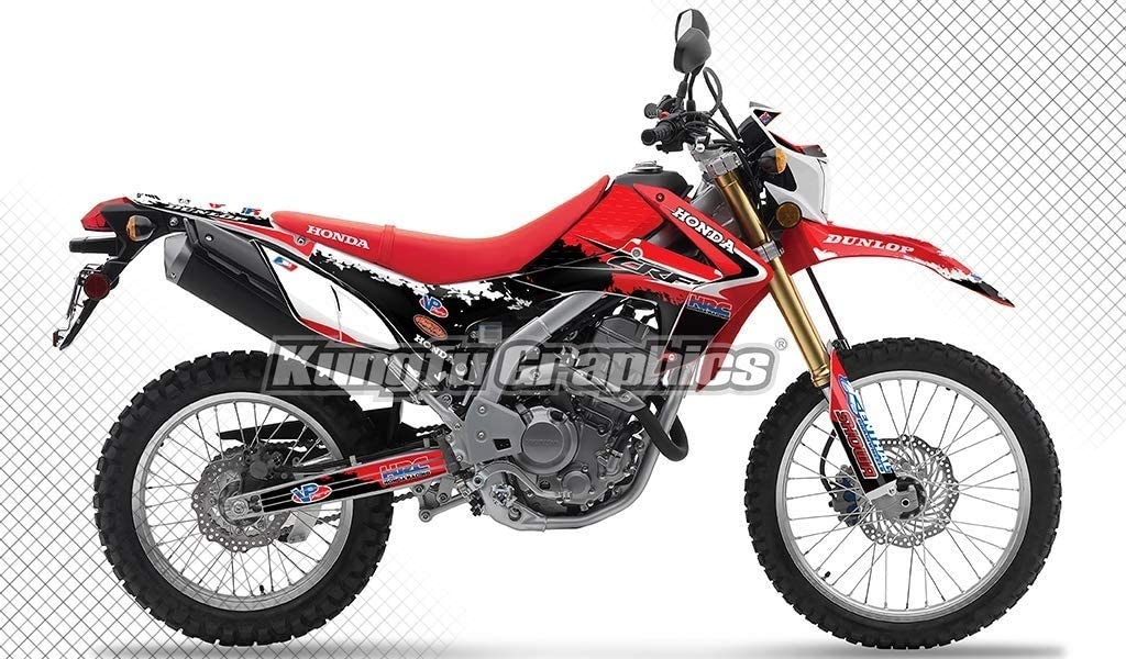 Kungfu Graphics Custom Decal Kit for Honda CRF250L CRF250M 2012 2013 2014 2015 2016 2017 2018 2019 2020, Black Red, Style 006