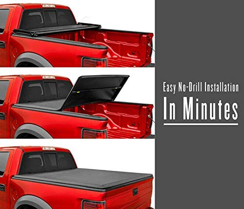 SHENGYAWAUTO 5FT Tri-Fold Soft Truck Bed for Nissan Frontier Suzuki Equator Tonneau Cover