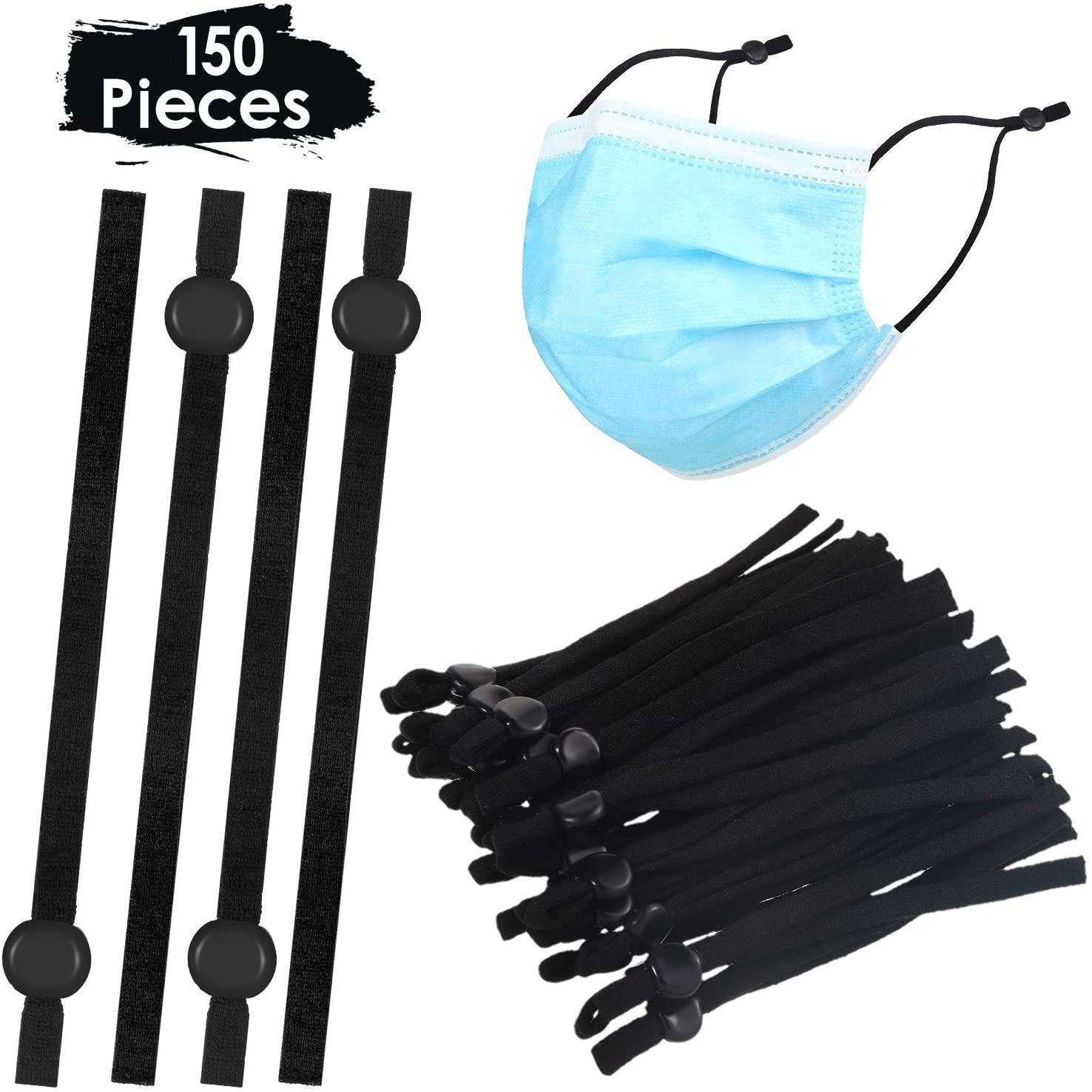 150 Pieces Sewing Elastic Band Cord with Adjustable Buckle Stretchy Earloop Adjustable Ear Spool Straps Anti-Slip Ear Loop Lanyard Earmuff Rope for DIY Craft Making Supplies (Black)