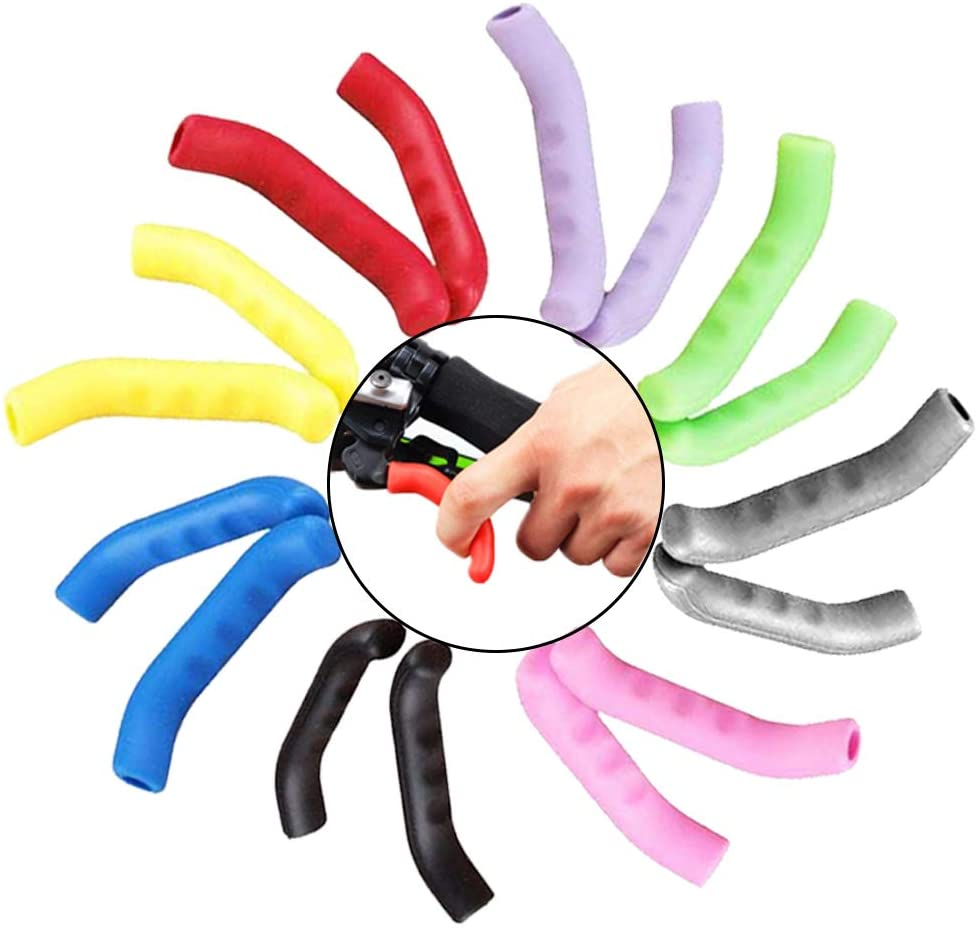 Anti-Slip Road Bike Brake Levers Silicone Sleeve, Dead Fly Universal Type Brake Lever Protection Cover of a Pack 8 Colors with (8 Pairs)
