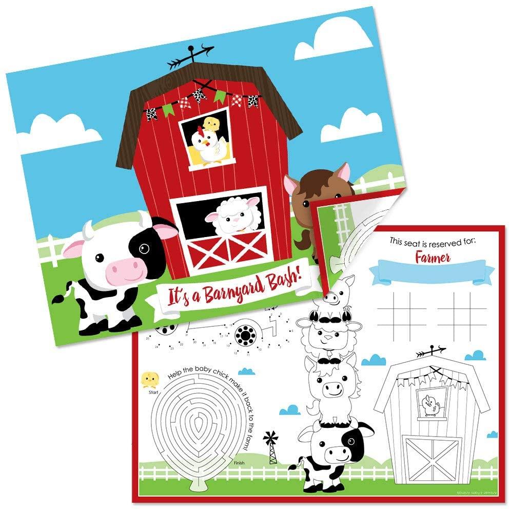 Big Dot of Happiness Farm Animals - Paper Barnyard Birthday Party Coloring Sheets - Activity Placemats - Set of 16
