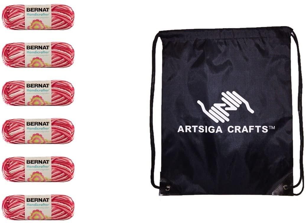 Bernat Knitting Yarn Handicrafter Cotton Ombres Azalea 6-Skein (Same Dyelot) 162102-2416 Bundle with 1 Artsiga Crafts Project Bag