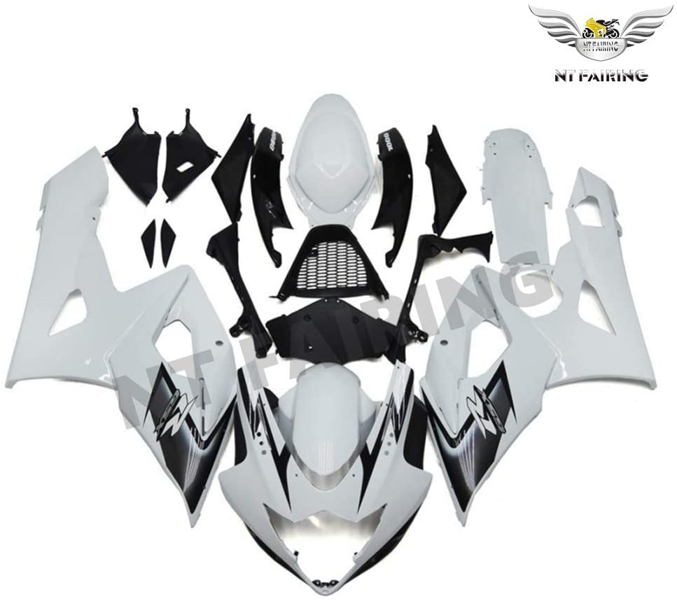 NT FAIRING Gloss Black White Injection Mold Fairing kits Fit for Suzuki 2005 2006 GSXR 1000 K5 05 06 GSX-R1000 Aftermarket Painted ABS Plastic Motorcycle Bodywork