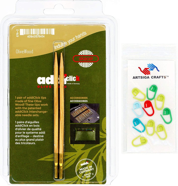 addi Knitting Needles Click Interchangeable Tips Olive Wood Set 5 inch (13cm) Size US 17 (12.0mm) Bundle with 10 Artsiga Crafts Stitch Markers