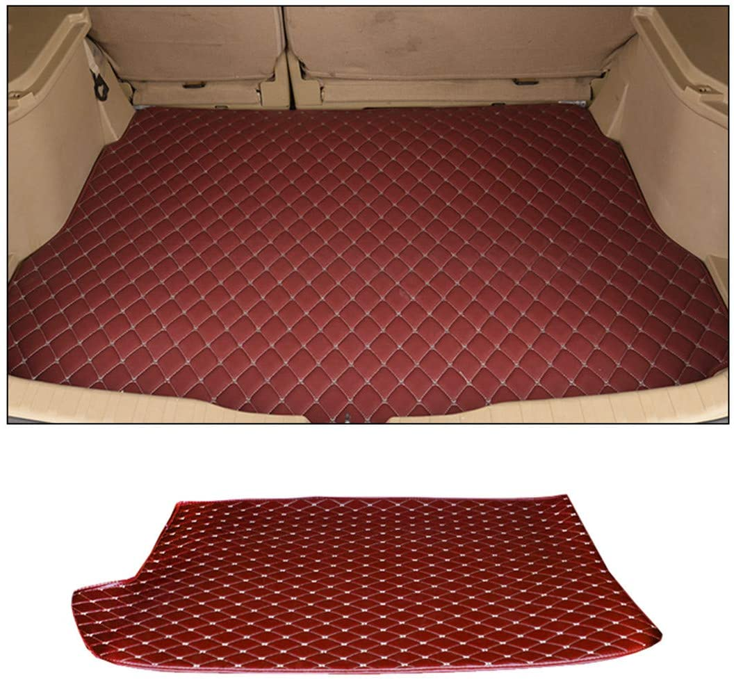 Jiahe Original Car Cargo Liner for Audi A4 2010-2014 Flat Trunk Leather Floor Mat All Weather Trunk Protection,Trimmable,Durable,Foldable,Red Wine