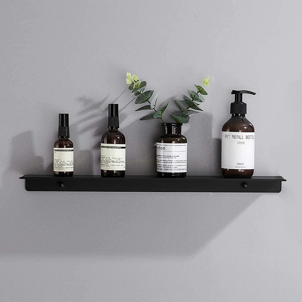 JOOM Floating Shelves, Storage Shelves, Bathroom Shelves, Wall Mounted, Aluminum (20 Inch, Black)