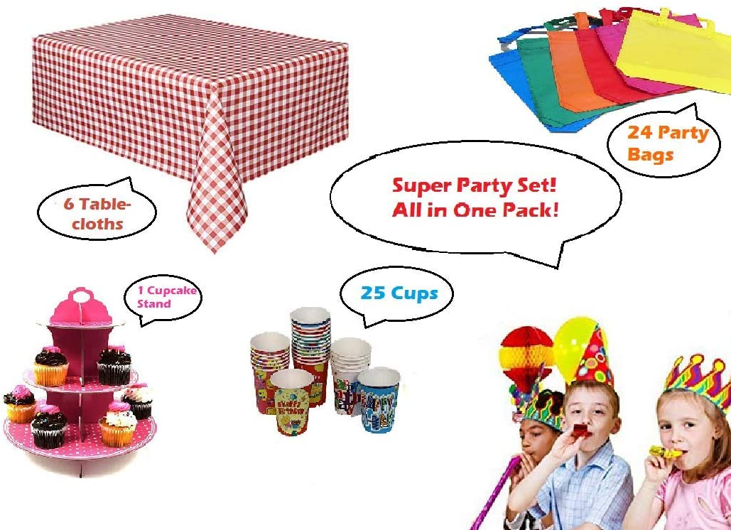 Kid's Party Supply Decorating Set with Tablecloth, Cupcake Stand, Happy Birthday Cups, and Party Favor Bags - Easy Decoration Perfect for Indoor and Outdoor Party