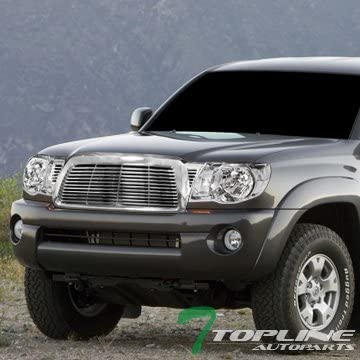 Topline Autopart Chrome Clear Crystal Headlights Signal Lights NB + Horizontal Front Hood Bumper Grill Grille For 05-11 Toyota Tacoma
