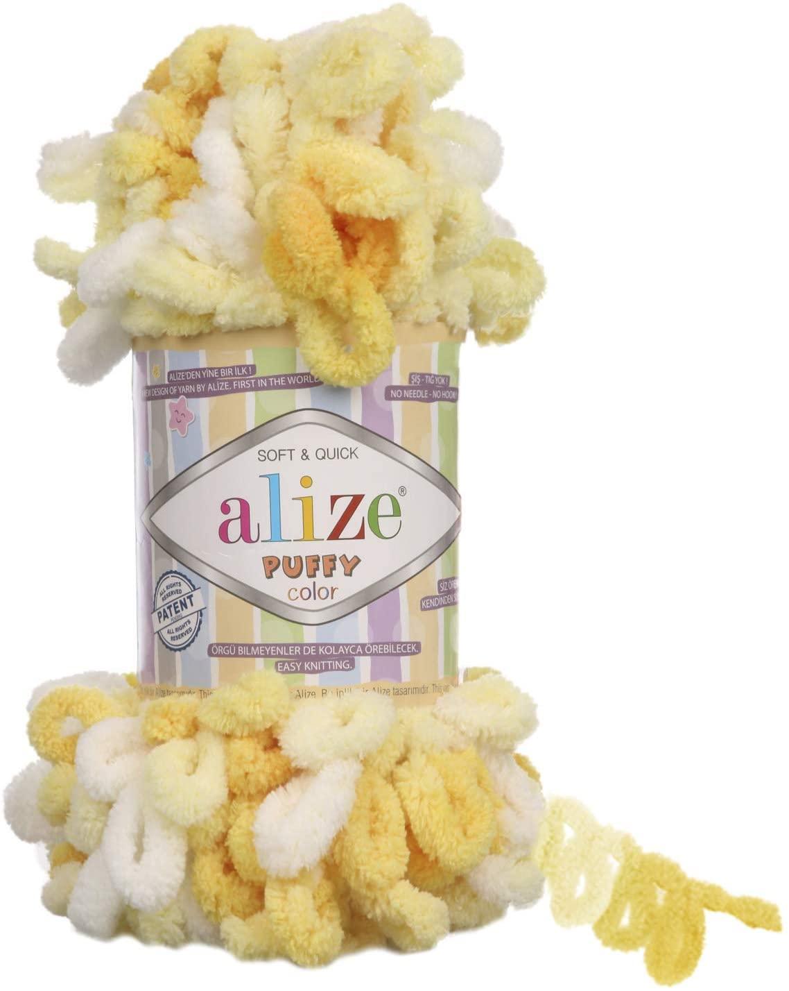 Alize Puffy Color Yarn Baby Blanket Yarn Lot of 5 skeins 500gr 50yds 100% Micropolyester Soft Yarn Baby Blanket Yarn Hand Knitting Yarn Super Chunky Bulky Woven Worested Yarn (5921)