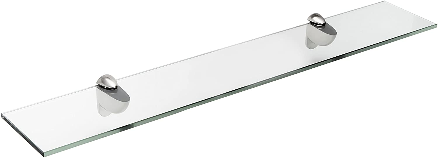 Spancraft Glass Heron Glass Shelf, Brushed Steel, 4.75 x 36