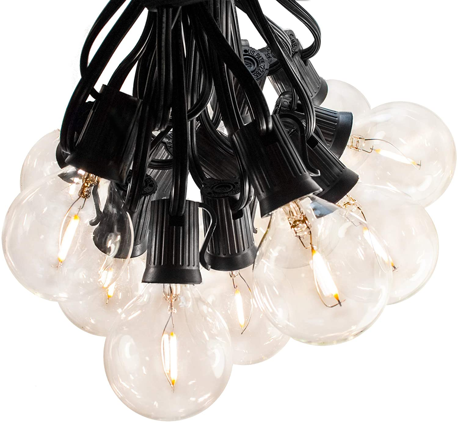 Hometown Evolution, Inc. LED Warm White Outdoor Patio String Lights (10 ft, LED Filament G50 Clear - Black Wire - 2