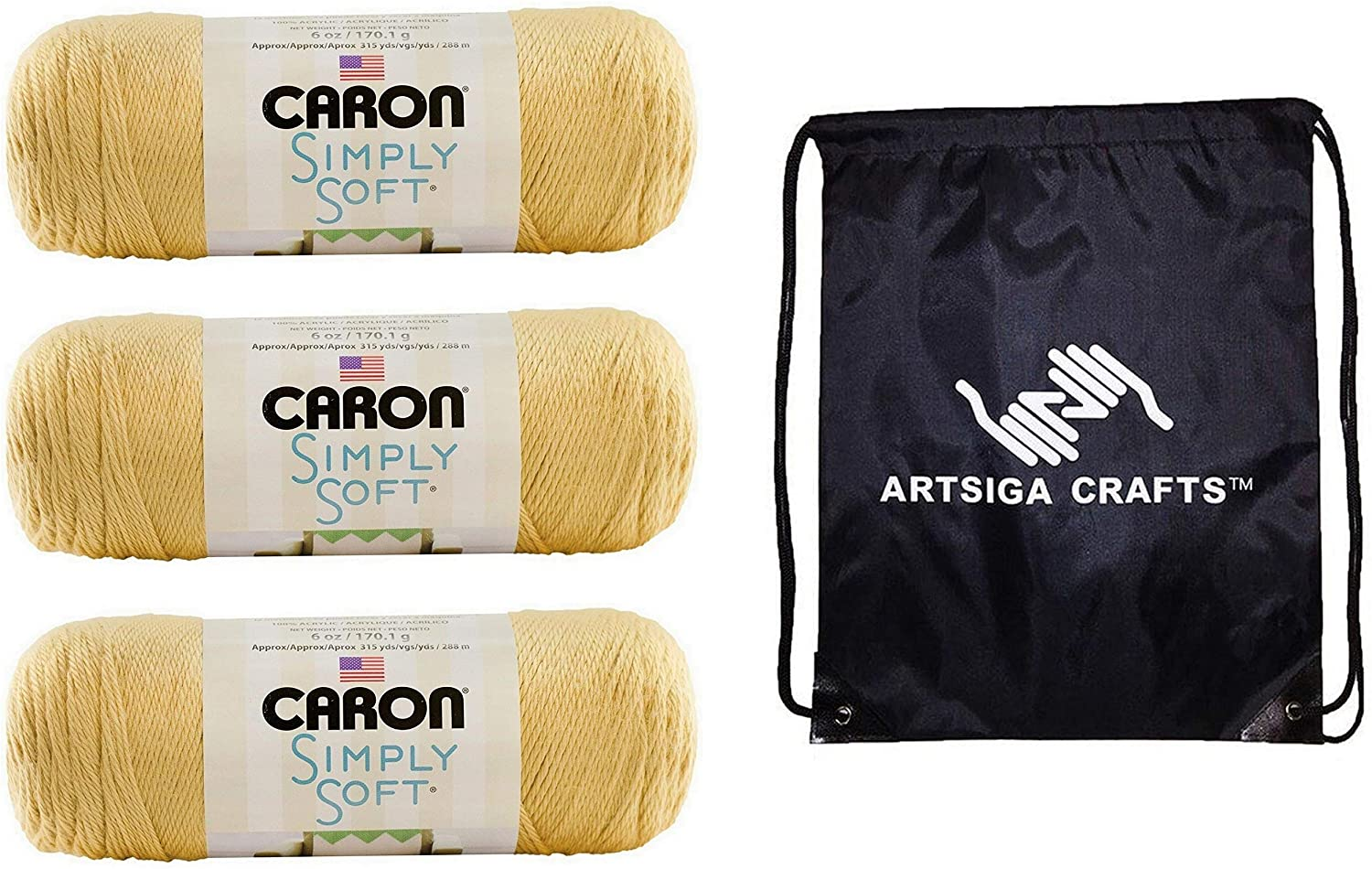 Caron Knitting Yarn Simply Soft Collection Autumn Maize 3-Skein Factory Pack (Same Dyelot) H97COL-8 Bundle with 1 Artsiga Crafts Project Bag
