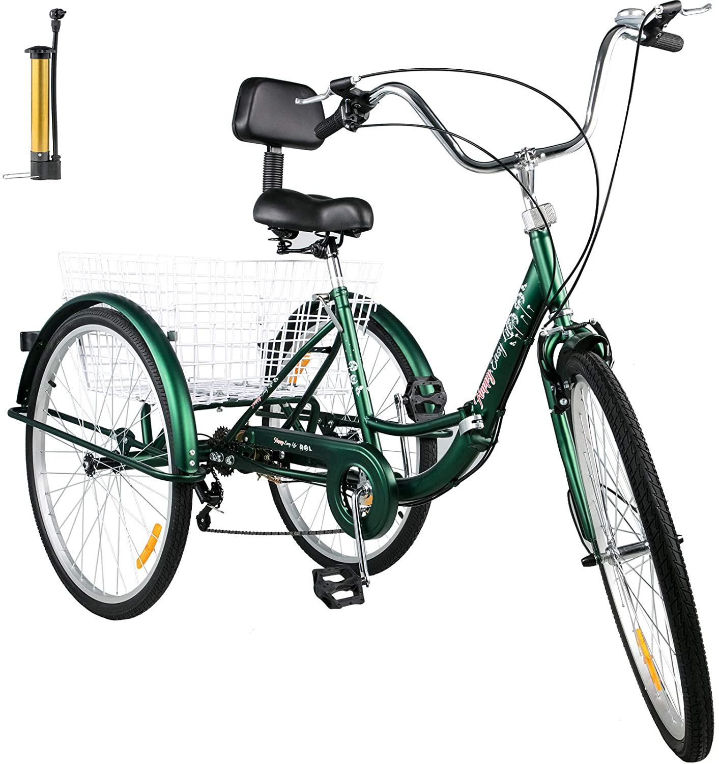 Bkisy Tricycle Adult 26�� 7-Speed 3 Wheel Bikes for Adults Three Wheel Bike for Adults Adult Trike Adult Folding Tricycle Foldable Adult Tricycle 3 Wheel Bike Trike for Adults