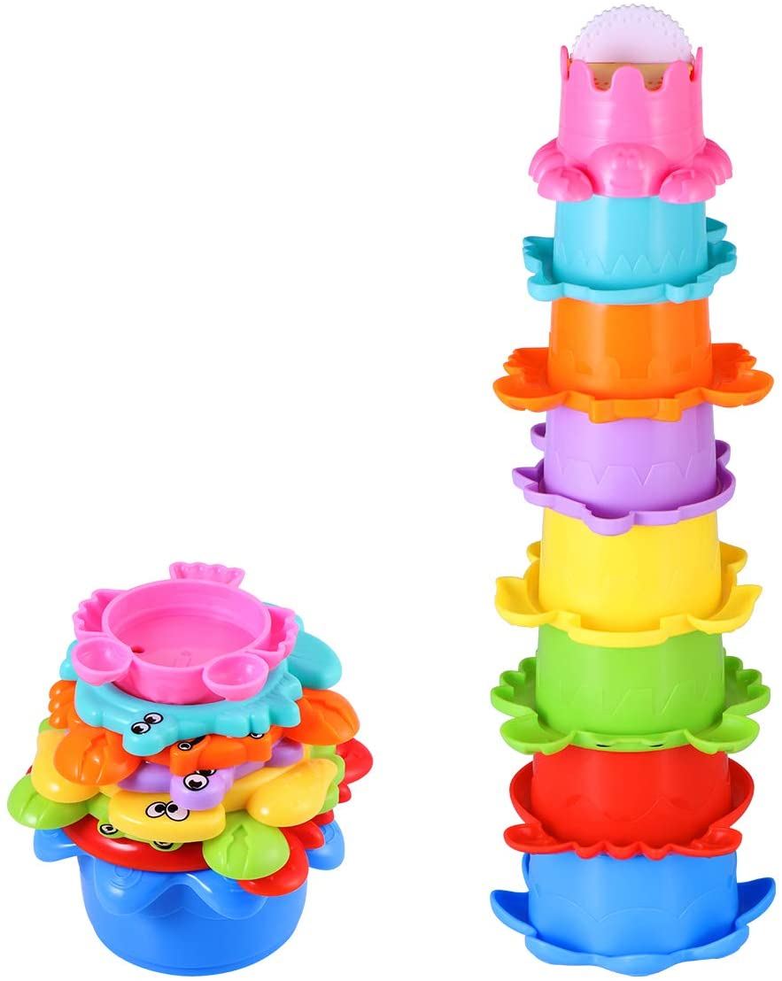 TOYMYTOY 8PCs Bathtub Toys Baby Bath Toys Stacking Cup Set for Kids 1 Year Old Cups
