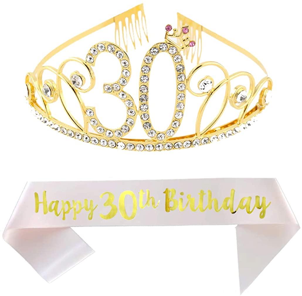 30th Birthday Tiara and Sash Happy 30th Birthday Party Supplies Happy 30th Birthday Champagne Glitter Satin Sash and Crystal Tiara Princess Birthday Crown for Women 30th Birthday Party Decoration