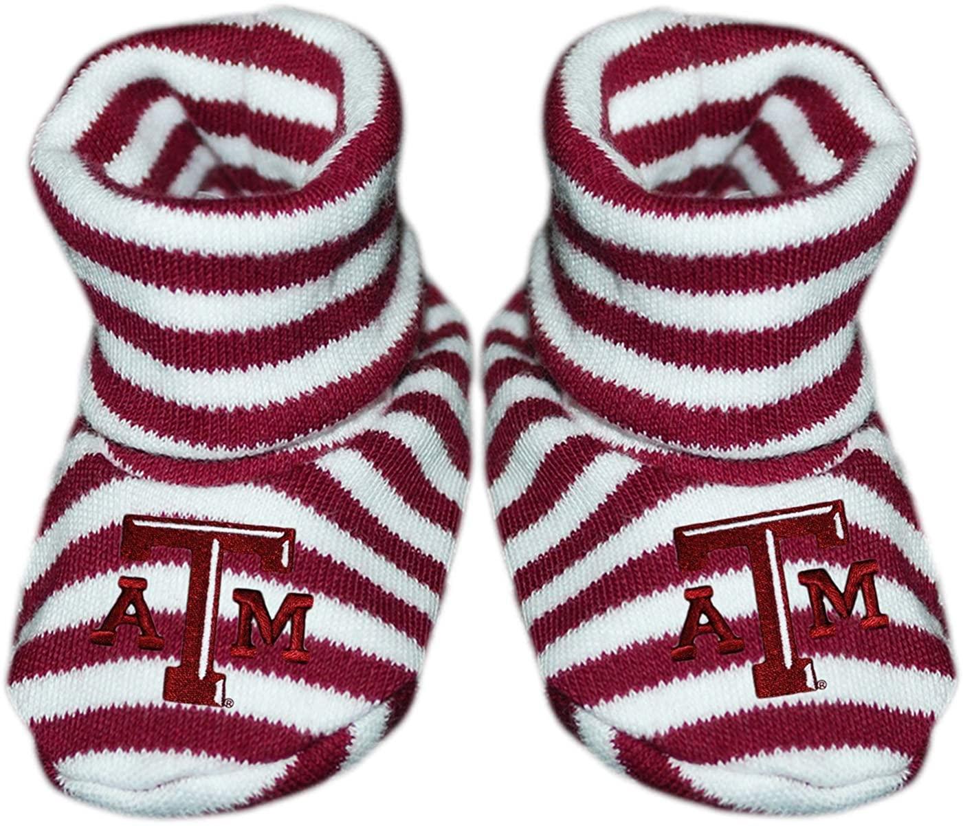 Texas A&M University Newborn Baby Striped Bootie Sock