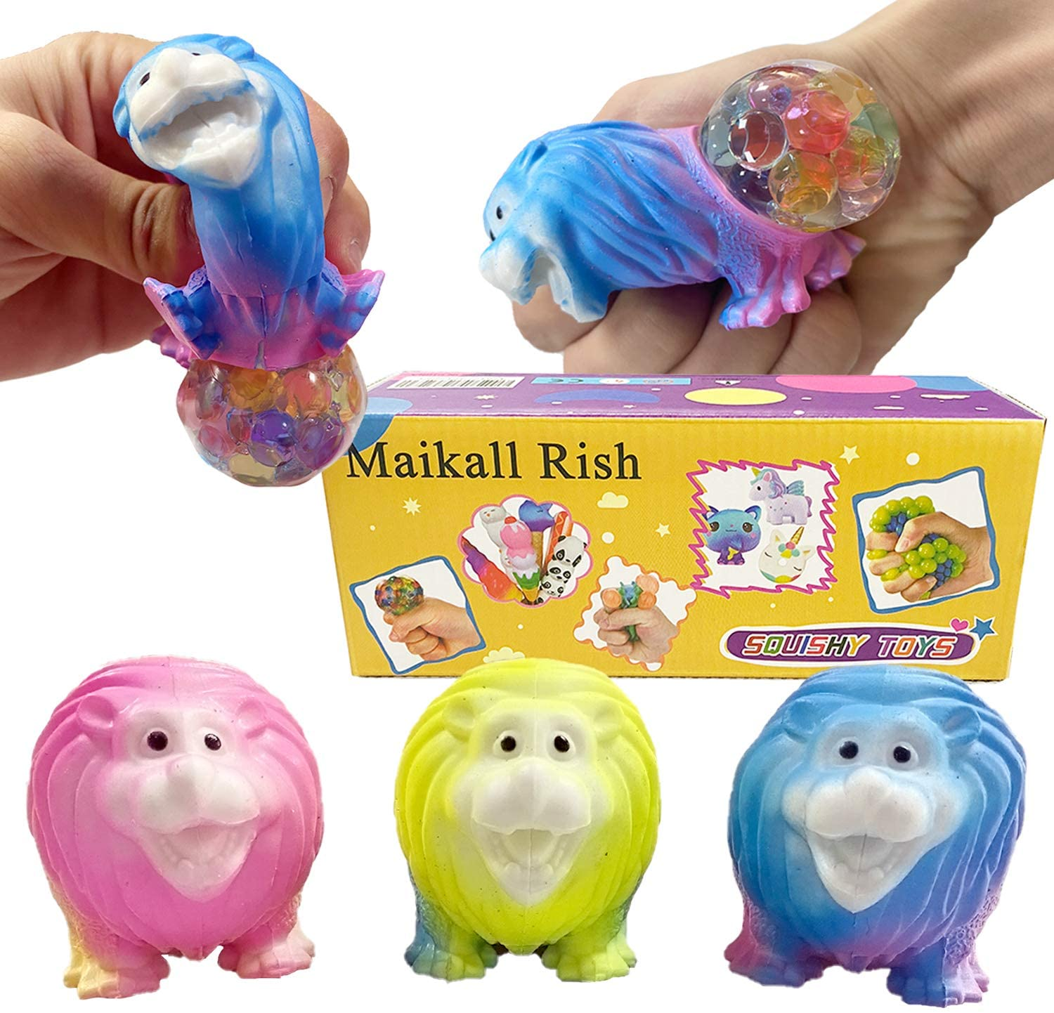 Maikall Rish Colorful Lion Stress Release Squeeze Toys 3 Pack is Perfect for Stress and Anxiety Relief The Best Choice for Adults and Kids with Autism and ADHD
