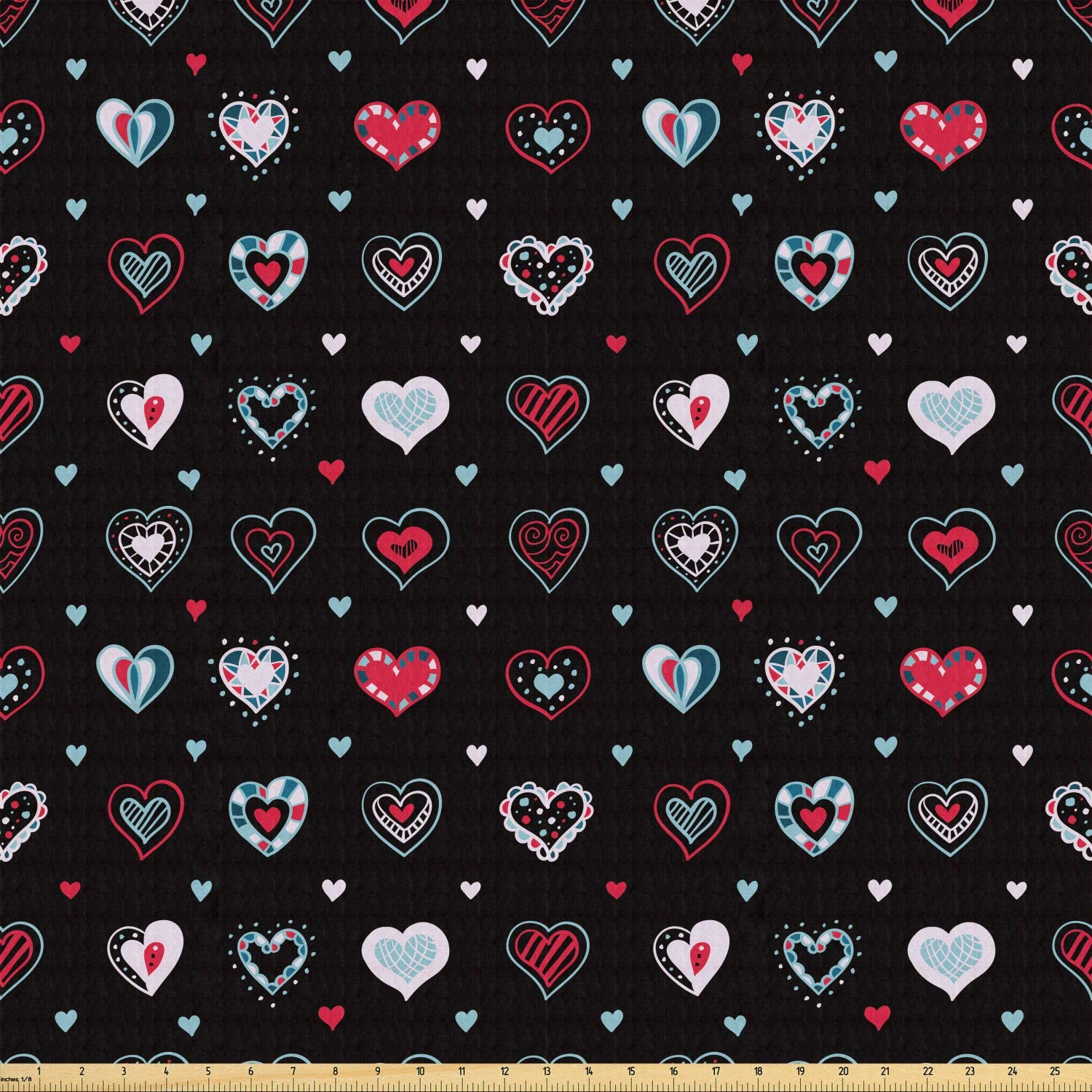 Ambesonne Love Fabric by The Yard, Valentine's Day Themeds Love Hand Drawn Heart Pattern Wedding Inspired, Stretch Knit Fabric for Clothing Sewing and Arts Crafts, 1 Yard, Black Red