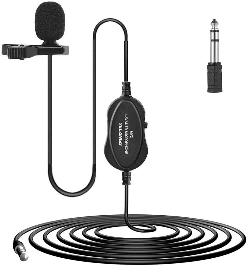 Andoer Lavalier Microphone Recording Microphone Omni-Directional Condenser Interview Mic with 6.5mm Adapter for Smartphone DSLR Camera Camcorder Computer for Audio/Video Recording Live Broadcast