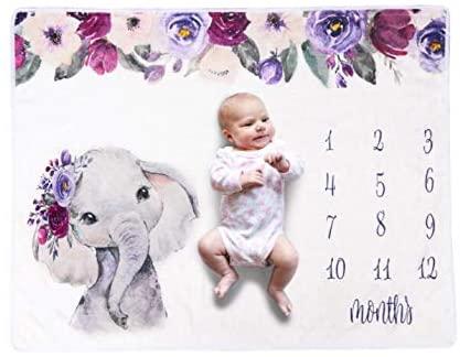 Josopa Universe Baby Monthly Milestone Blanket,DIY Newborn Baby Photo Blanket,Newborn Baby Swaddle Wrap Blanket,Newborn Photography Wrap Mat,White
