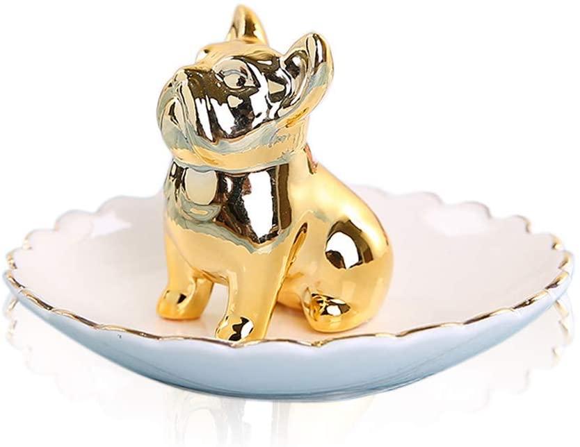 Lependor Ring Holder Jewelry Tray for Wedding Christmas Birthday (Gold Bulldog)
