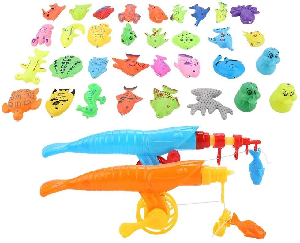 Jacksking Magnetic Fishing Toy, 39pcs/Set Magnetic Fishing Toy Fish Rod Net Set Playing Game Educational Toys Baby Kids Gift